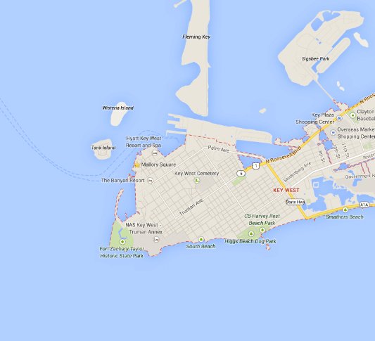 photo of map of key west
