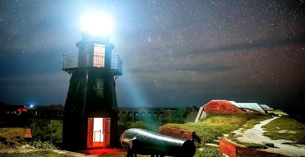 night photo of dry tortugas island