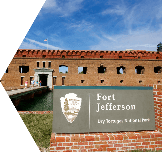 Pentagon shaped frame in which we see the entrance to Ft. jefferson in the Dry Tortugas