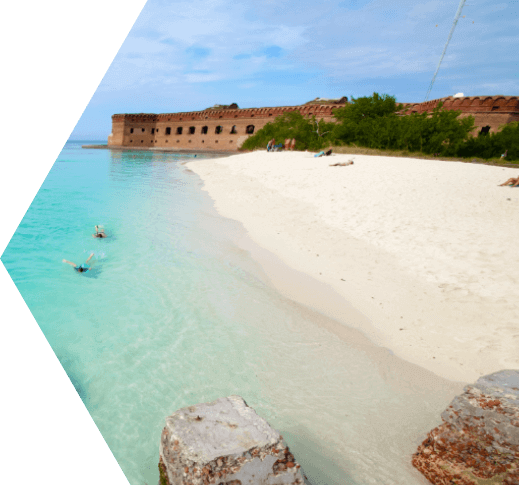 Two snorkelers near the shore of the Dry Tortugas National Park