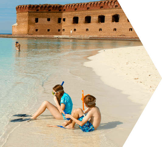 photo of kids snorkeling at dry tortugas