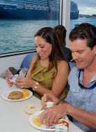 photo of a couple eatting lunch on the ferry