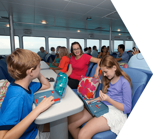photo of kids having fun on the ferry