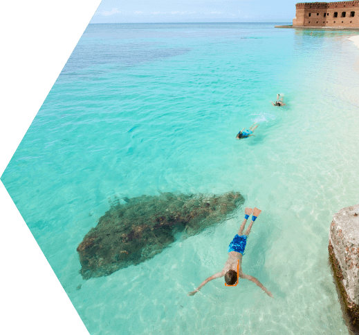 photo of kids snorkeling dry tortugas