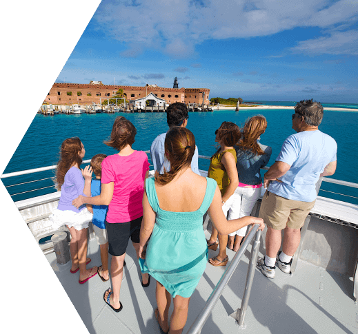 People turning towards the sea and Ft. Jefferson in the Dry Tortugas