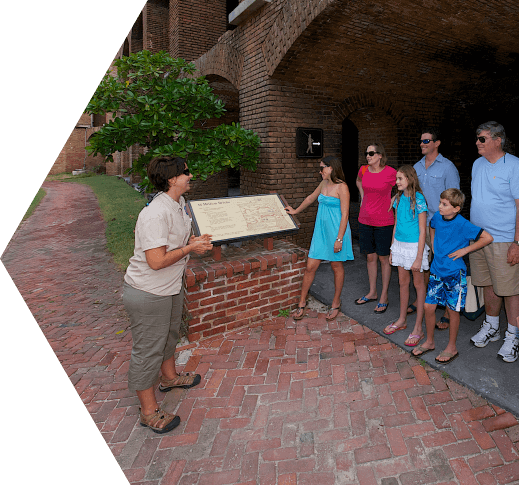 A tour group at Ft Jefferson in the Dry Tortugas