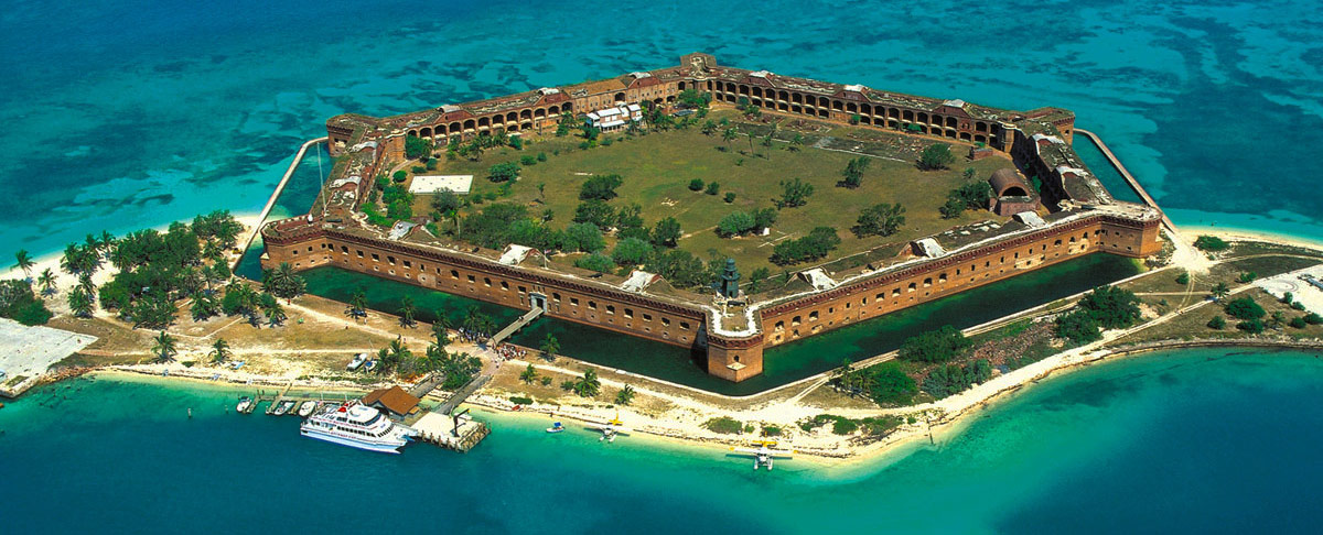 Aerial view of the hexoganal Ft. Jefferson surrounded by the azure waters of the Dry Tortugas