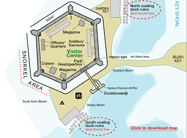 Section of a map of the Dry Tortugas National Park that identifies the docks, beaches and all within Ft. Jefferson