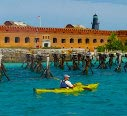 Image of Visitor Kayaking Near Fort Jefferson