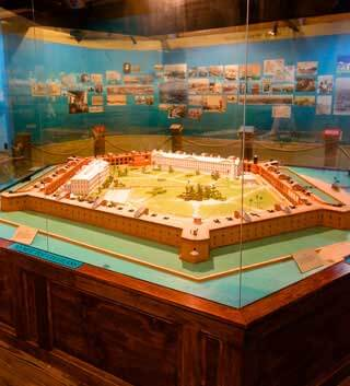 Photo of the Fort Jefferson 3D model on display at the Dry Tortugas Museum - Mobile Version
