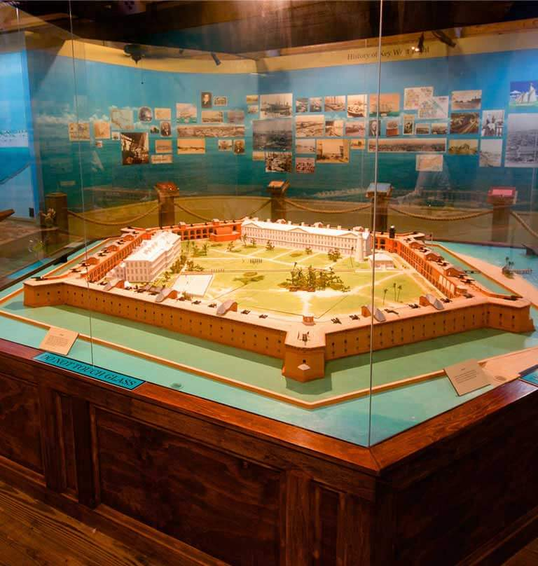 Photo of the Fort Jefferson 3D model on display at the Dry Tortugas Museum - Tablet Version