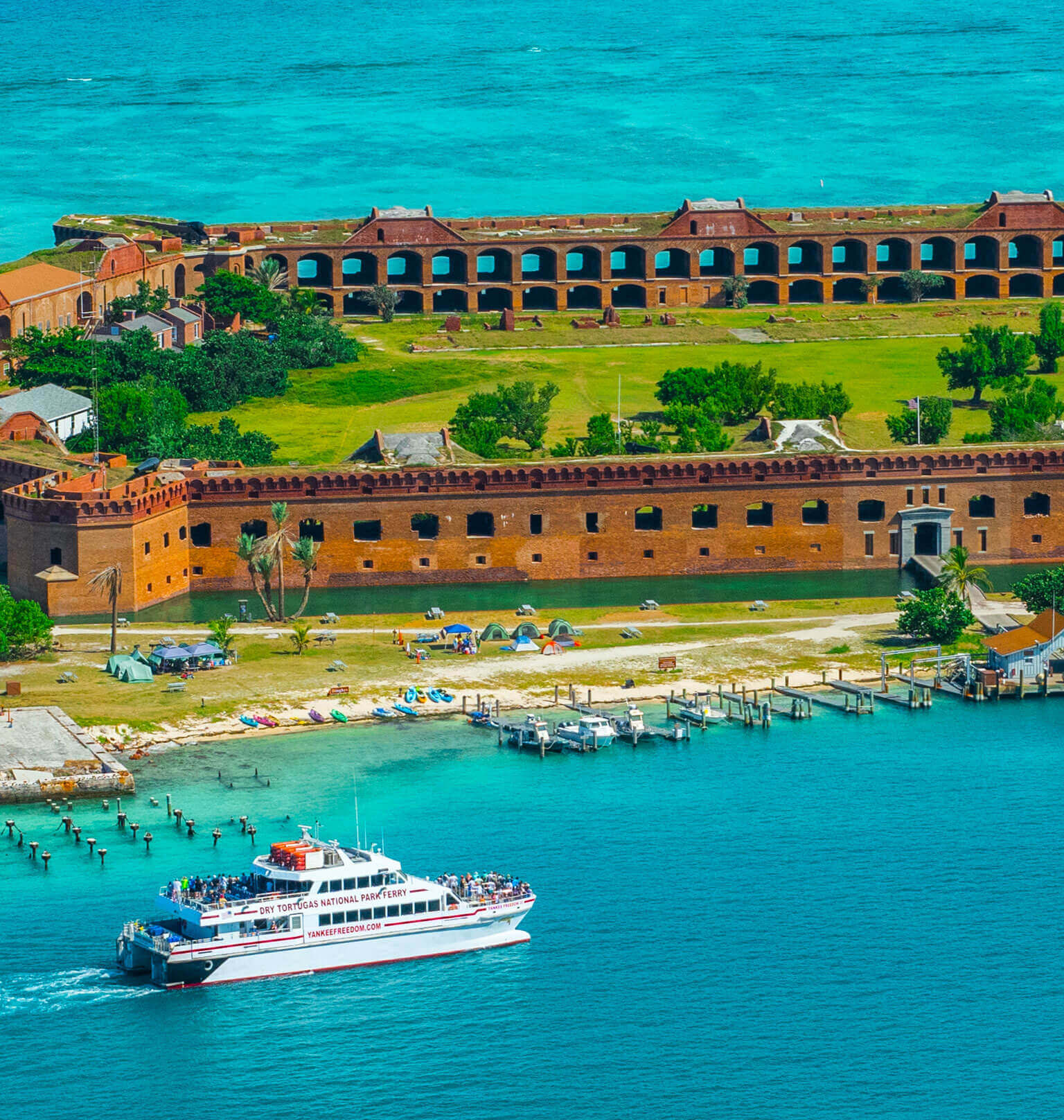 aerial photo of dry tortugas island Tablet