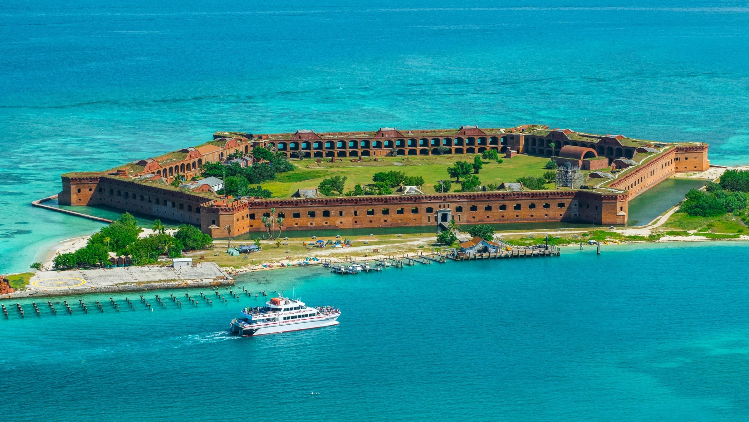 aerial photo of dry tortugas island desktop